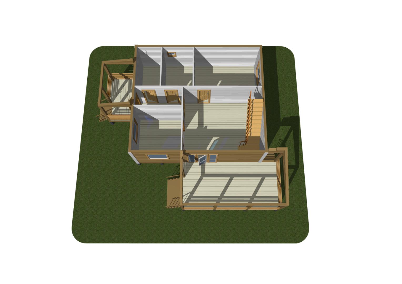 Дом из бруса 7х8 м с мансардой-лофт и террасой 3х6 м и ...  Дом из Бруса 7х8